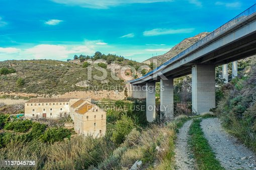 istock Abandoned farm in torrent under 1137045736