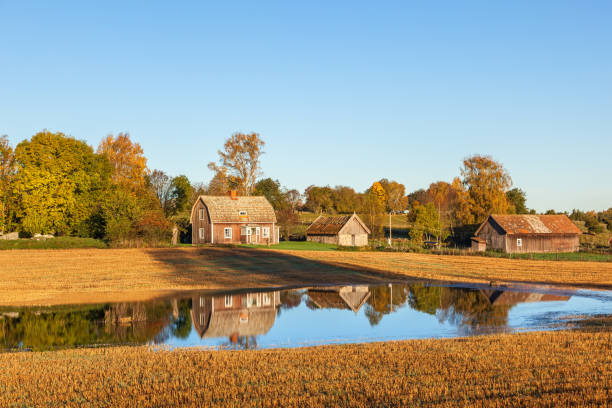 abandoned farm with reflections in the water at the field - desolated stock pictures, royalty-free photos & images