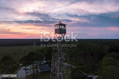 Sunset over an abandoned fire tower near Grantsboro in Pamlico County, NC.