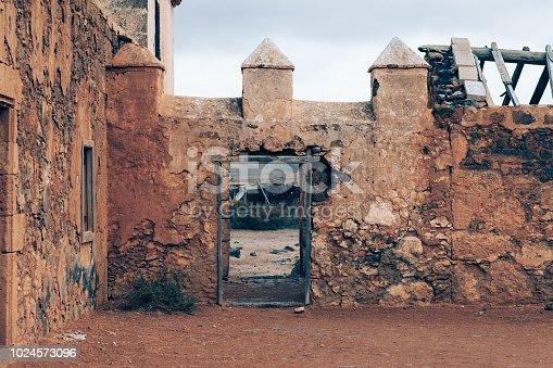 Abandoned fortress in desert on Fuerteventura island
