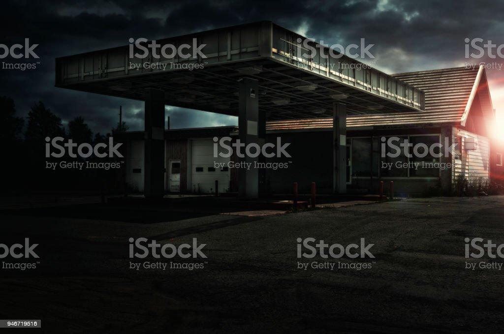 Abandoned freaking old gas station. stock photo