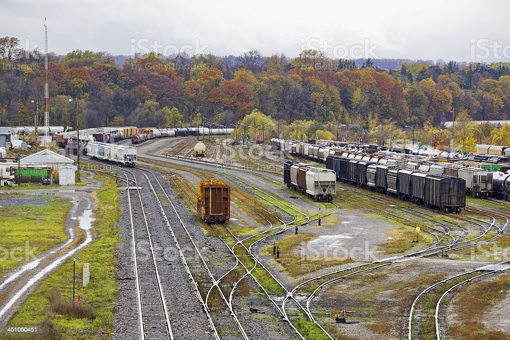 Abandoned freight train yard stock photo