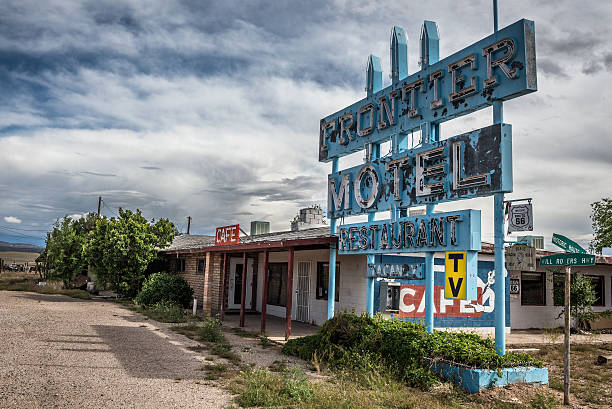 Abandoned Frontier Motel on historic route 66 in Arizona stock photo