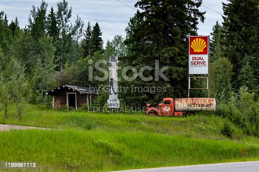 Dawson Creek, British Columbia, Canada - June 25, 2019: An abandoned fuel station along the alaska highway in canada