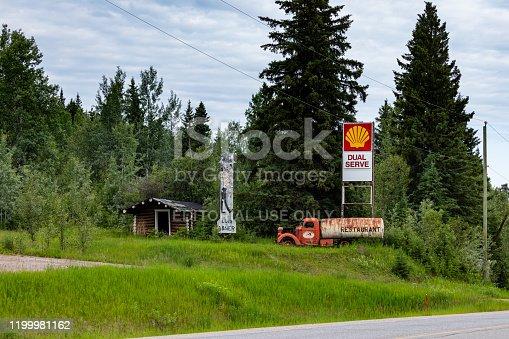 Dawson Creek, British Columbia, Canada - June 25, 2019: An abandoned fuel station along the alaska highway in canada