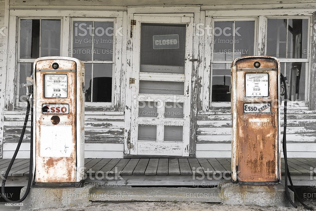 Abandoned Gas Pumps at a Country Store stock photo
