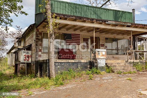 An abandoned gas station in rural North Georgia, proudly displaying an American flag in the window.