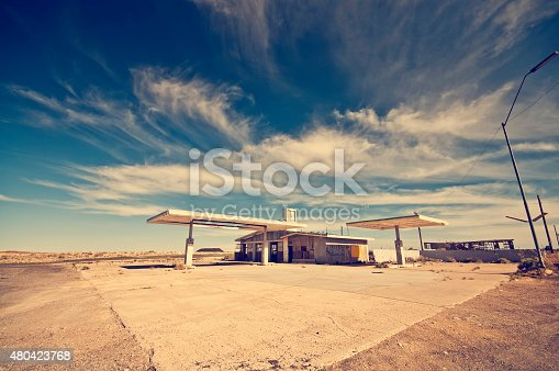 Wide angle shot of a deserted gas station. Many ghost places like that you will find along the historic route 66.