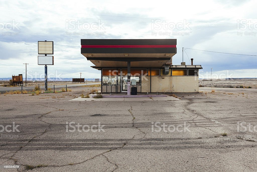 Abandoned Gas Station in USA stock photo