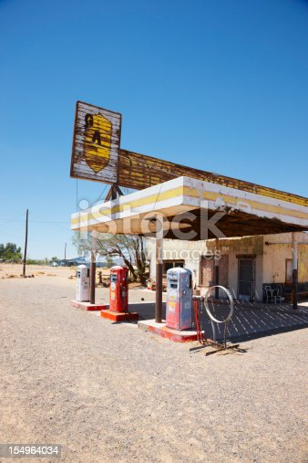 Dilapidated gas station on historic Route 66. No logos or trademarks present. Vertical shot.