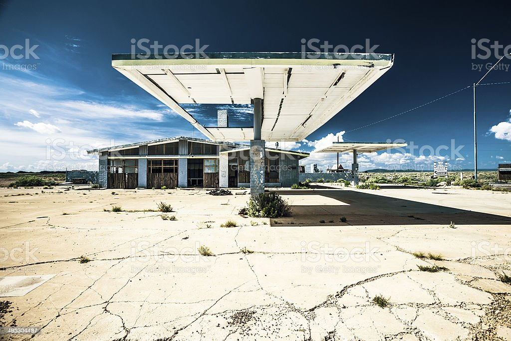 Abandoned Gas Station on Route 66, USA stock photo
