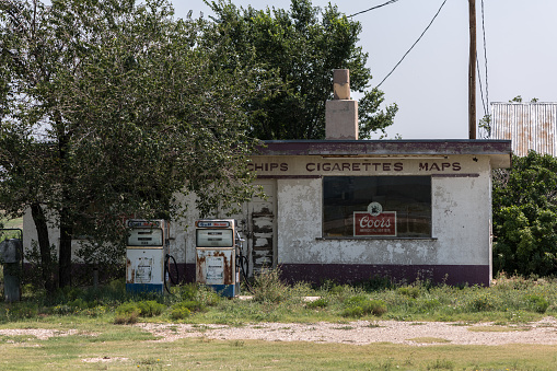 Route66, August 2, an Abandoned gas station on Rout66. Somewhere between between Chicago and Los Angeles