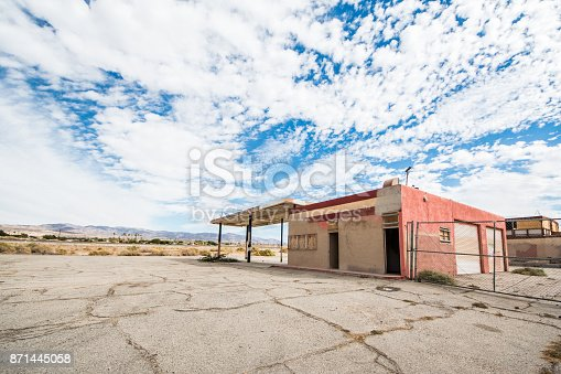 Old abandoned gas station in the Salton Sea area