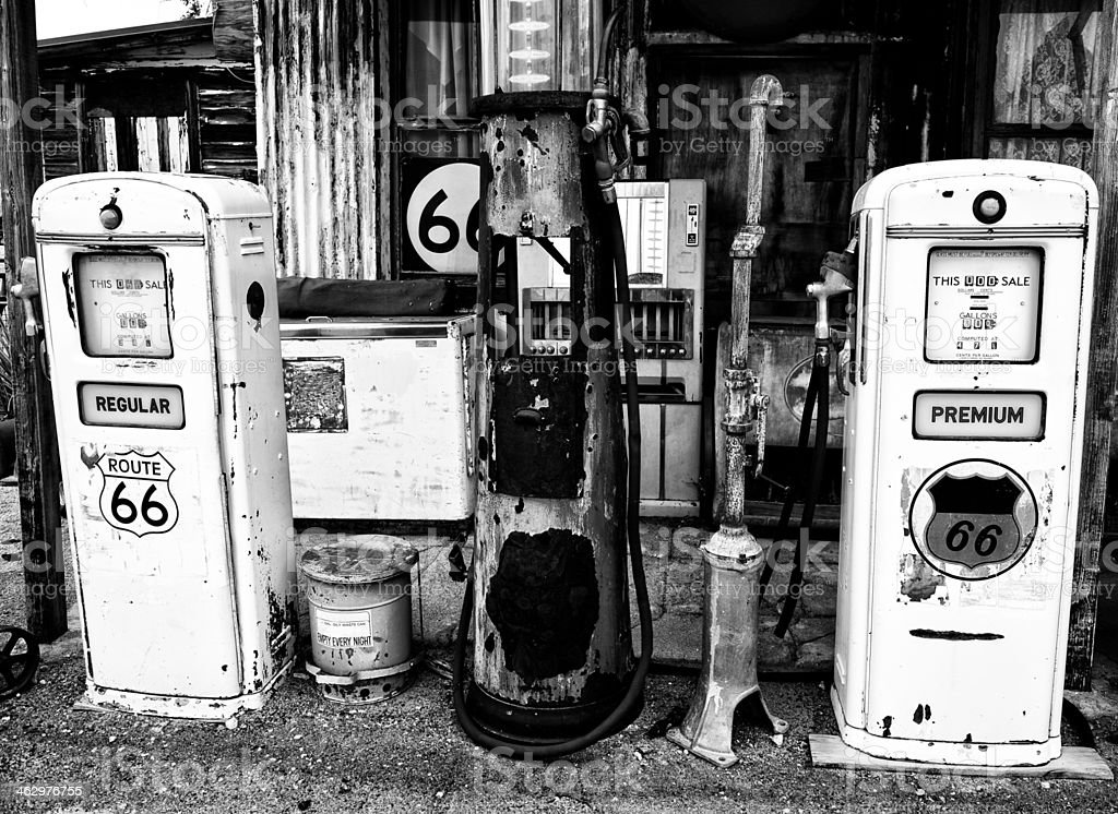Abandoned Gas Station, Route 66, California.  Black and White. stock photo
