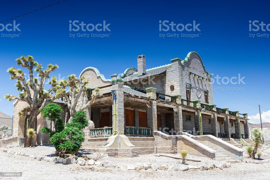 Abandoned Ghost City Rhyolite Former Train Station stock photo