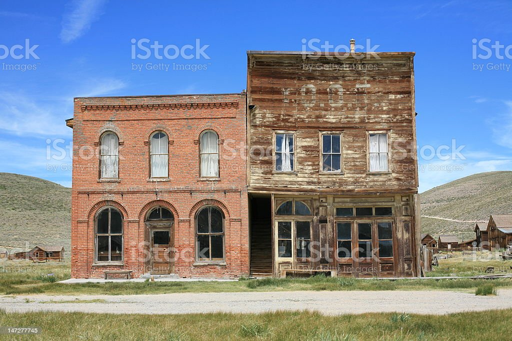 Abandoned Ghost Town - Bodie, California, Rectangular Architecture stock photo