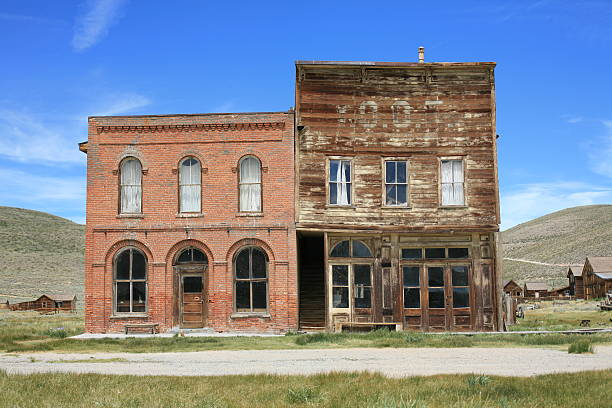 abandoned ghost town - bodie, california, rectangular architecture - western town stock photos and pictures