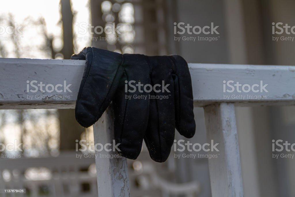 Abandoned glove stock photo