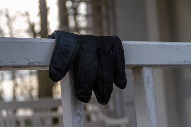 Abandoned glove stock photo