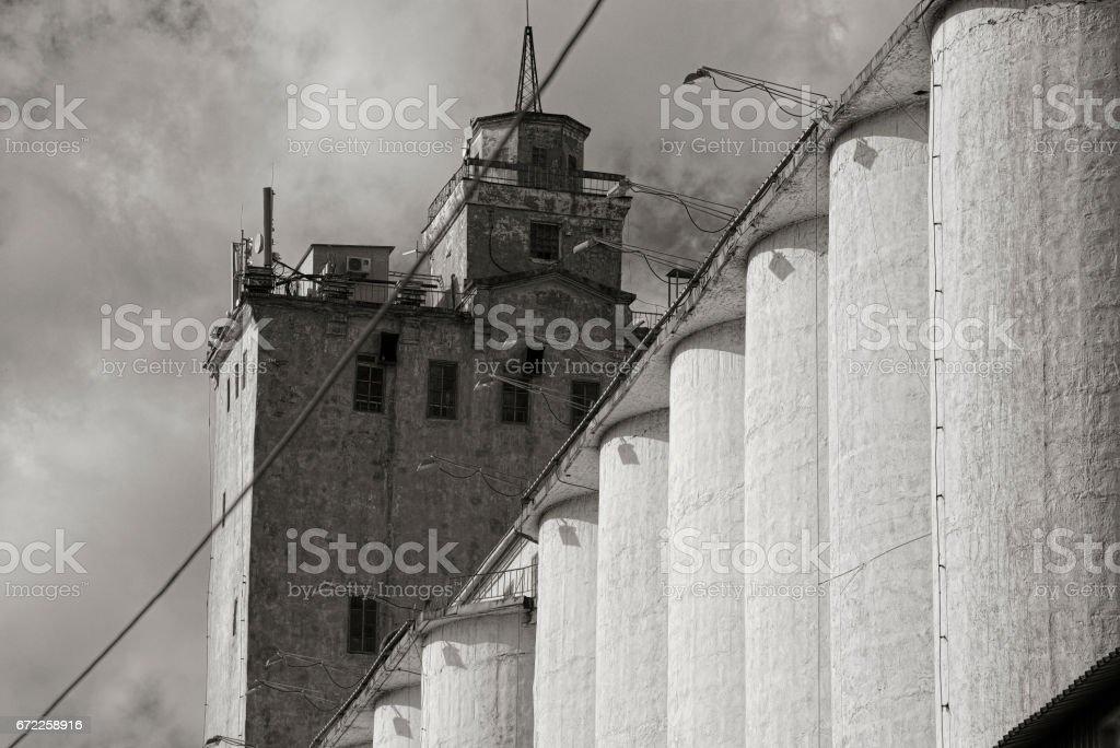Abandoned grain elevator stock photo