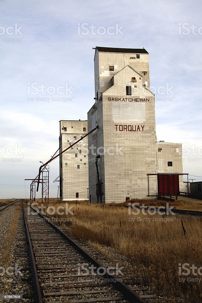 Abandoned grain elevators royalty-free stock photo