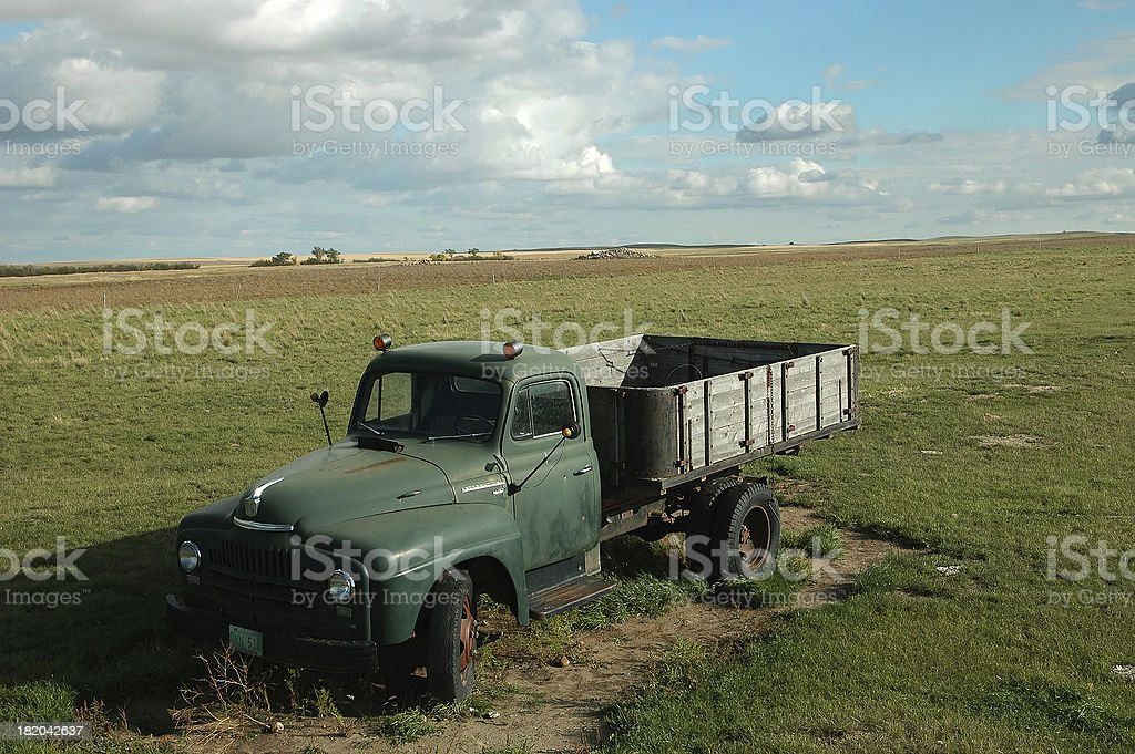 abandoned grain truck in a pasture royalty-free stock photo