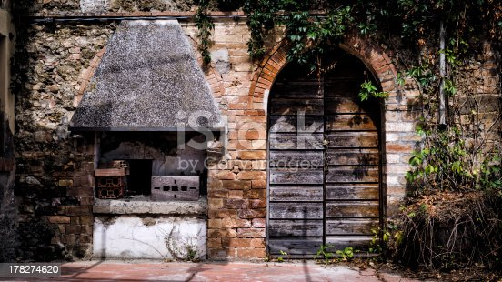abandoned grill and wooden door sorrounded by vegetation in a ghost town