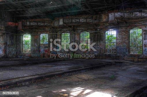istock Abandoned hall with window 502660833