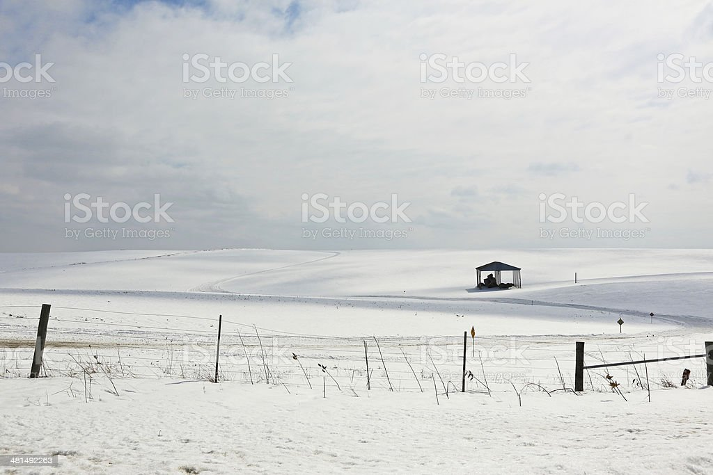 Abandoned hay shed on farm field royalty-free stock photo