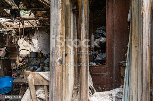 1164292968 istock photo Abandoned home. Damaged house after earthquake. 1189414026