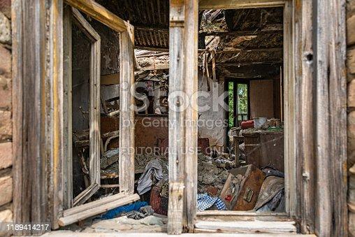 1164292968 istock photo Abandoned home. Damaged house after earthquake. 1189414217