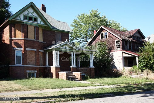 Abandoned homes in Detroit.  There are thousands of vacant structure in the city.