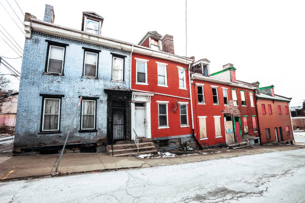 Abandoned homes - Uptown Pittsburgh, PA stock photo