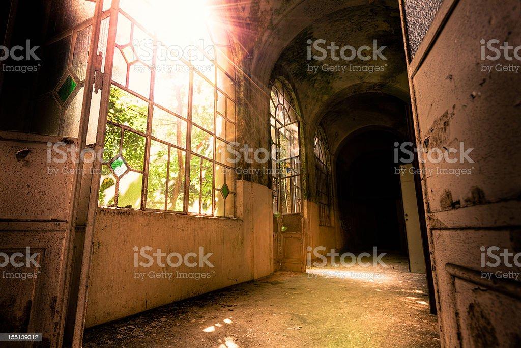 Abandoned Hospital corridor royalty-free stock photo