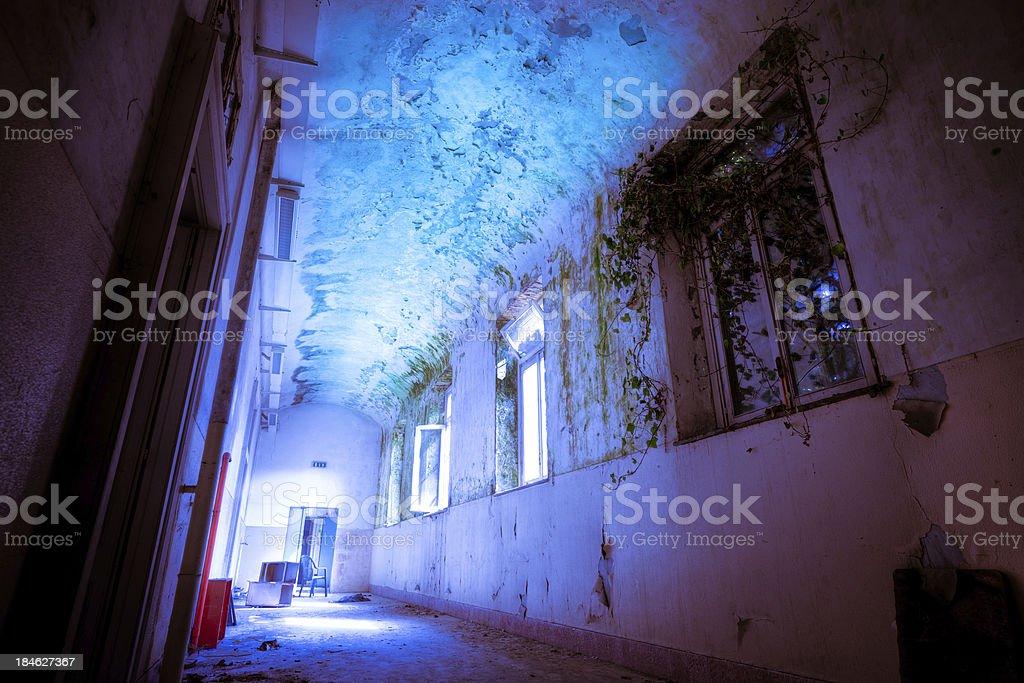 Abandoned Hospital corridor stock photo