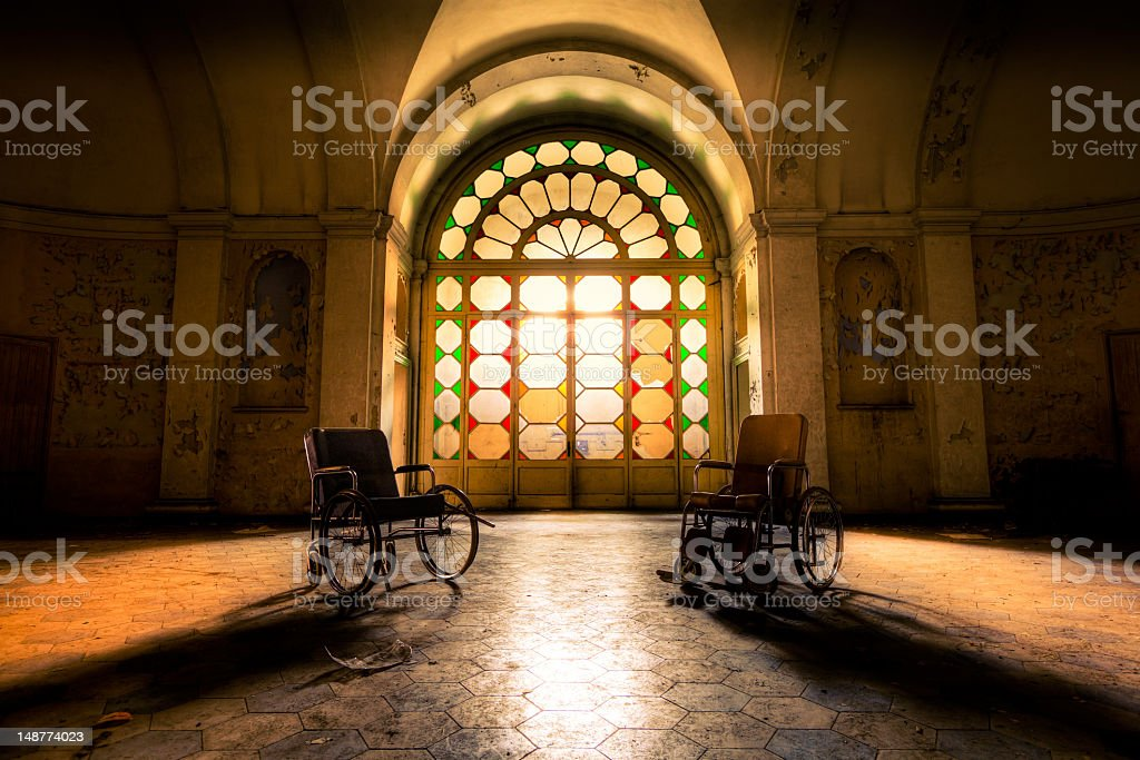 Abandoned Hospital Hall stock photo