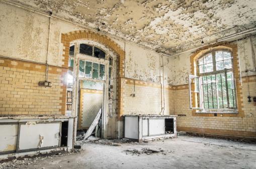 Abandoned Hospital in Beelitz Heilstaetten near Berlin in Germany