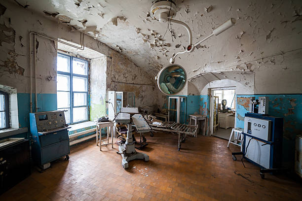 abandoned hospital in prison, patarei, tallinn, estonia - psychiatric ward stock photos and pictures