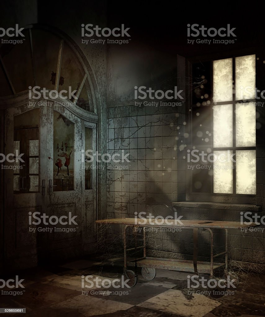 Abandoned hospital room stock photo