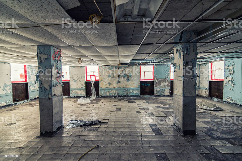 Abandoned hospital undergoing cleanup stock photo
