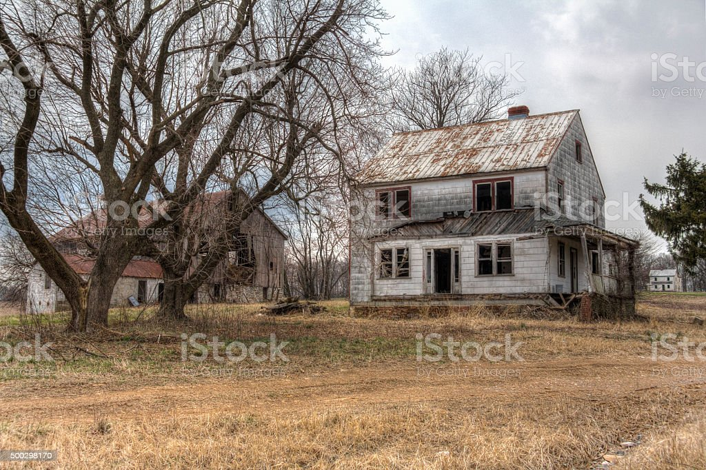 Abandoned House and Barn, HDR stock photo