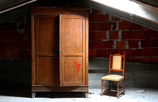 abandoned house and closet and chair