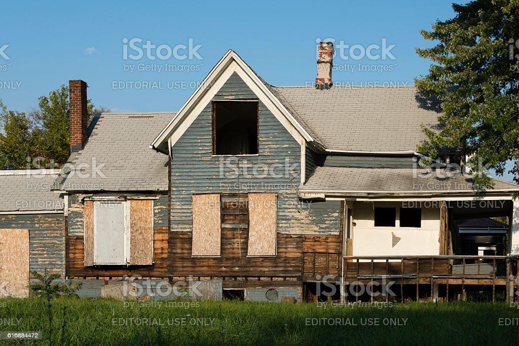 Abandoned House Detroit Michigan stock photo