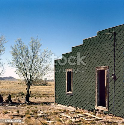 Abandoned house in a ghost town in the middle of the desert alongside the old Route 66 between Arizona and New Mexico