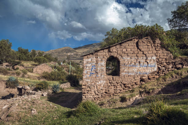Abandoned house in andean village stock photo