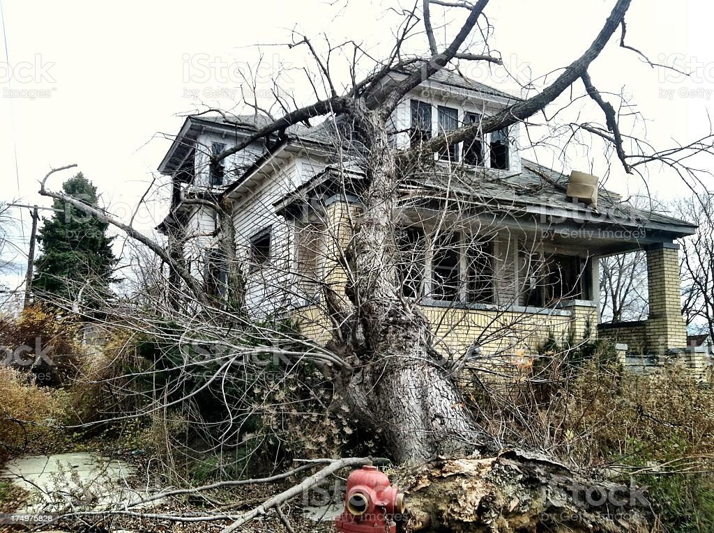 Abandoned house in Detroit stock photo