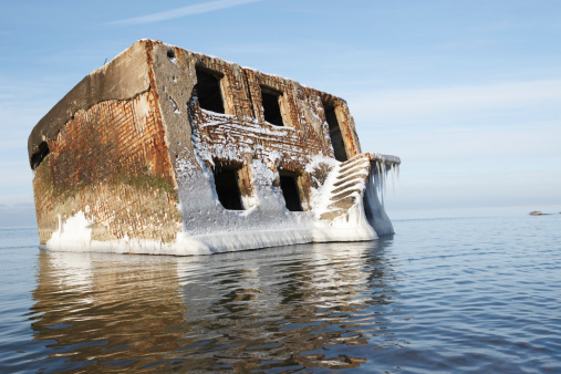 Abandoned house in water