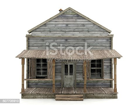 istock Abandoned house isolated front view 507705910
