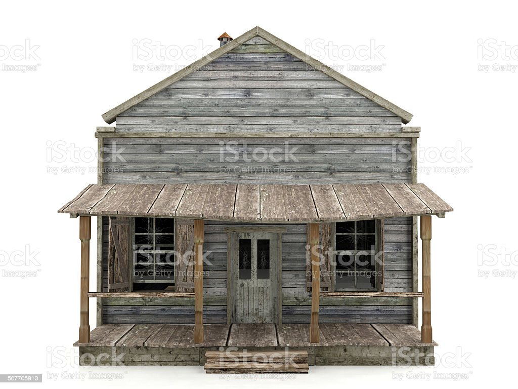 Abandoned house isolated front view stock photo