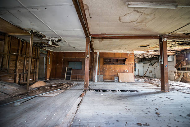 abandoned house with burned or flooded room - flooded room stock photos and pictures